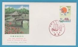 JAPAN  20th ANNIV. RETURN OF OKINAWA TO JAPAN 4.5.15 FIRST DAY 1992 - 1989-... Emperador Akihito (Era Heisei)