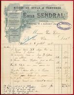 1905 FACTURE Illustrée Emile SENDRAL Tapissier 81 MAZAMET Tarn (cachet J. BEDOUT, Avoué à Castres) - Ambachten