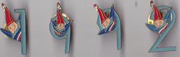 PIN'S  THEME JEUX OLYMPIQUES ALBERTVILLE 1992 LOT DE 4 PIN 'S DE LA MASCOTTE  EN BLEU - Olympic Games