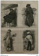 Bouquiniste Et Bouquineurs - Le Marchand - Un Pêcheur Endurci - En Contrebande - Page Original - 1878 - Documenti Storici