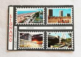 Cartolina Illustrata Saluti Da Lignano - Vedute Diverse, Viaggiata Per Frassinoro 1971 - Gruss Aus.../ Grüsse Aus...