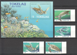 QQ568 1996 TOKELAU FAUNA MARINE LIFE REPTILES SEA TURTLES #223-6 MI 13 EU BL+SET MNH BL HAS A RIPPED LOWER RIGHT CORNER - Other