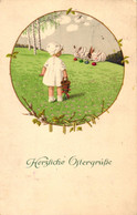 Ostern, Mädchen, Hasen, 1917, Verlag M. Munk Wien, Vermutlich Nicht Signierte Pauli Ebner AK - Pascua