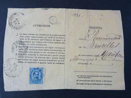 """1838 ITALIA Regno-1879- """"Effigie"""" C. 25 Ricevuta Di Ritorno MANTOVA (descrizione) - Poststempel"""
