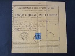 """1840 ITALIA Regno-1879- """"Effigie"""" C. 25 Ricevuta Di Ritorno PESCANTINA (descrizione) - Poststempel"""