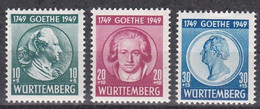 Men_ Franz. Zone Württemberg - Mi.Nr. 44 - 46 - Postfrisch MNH - Goethe - French Zone