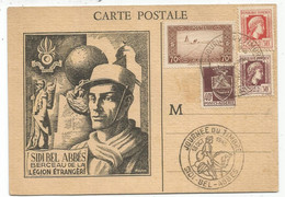 ALGERIE BLASON + MARIANNE  CARTE  JOURNEE DU TIMBRE SIDI BEL ABBES 1945 LEGION ETRANGERE - Cartas