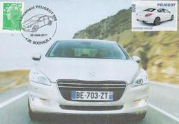 PEUGEOT Lancement De La 508 - 26/3/2011 Avec Vignette Sur Carte Postale N° 2 - Coches
