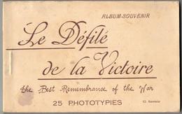 MILITARIA GUERRE 14/18 CARNET ALBUM COMPLET 25 SOUVENIRS DEFILE DE LA VICTOIRE CHARS BLINDES ZOUAVES AUTO MITRAILLEUSE - Guerra 1914-18