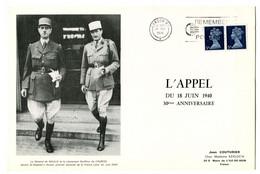 Thème Général De Gaulle - Feuillet Numéroté 30e Anniversaire De L'Appel - Flamme De Londres - GFY 20 - De Gaulle (Generale)