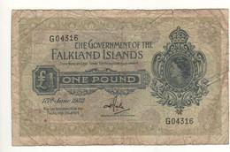 FALKLAND Islands   1 Pound   P8c  Dated 15th June 1982   Queen Elizabeth II - Falklandeilanden