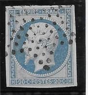 France N°14f - Bleu Laiteux Oblitéré étoile - TB - 1853-1860 Napoleon III