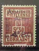 FISCAUX  FRANCE SOCIO-POSTAUX D'ALSACE LORRAINE N°176 4F80 Sur 5F30 Brun SURCHARGE PART PATRONALE Cote 180€ - Fiscales