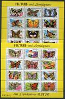 ROMANIA 1991 Butterflies Blocks MNH/**.  Michel Block 267-268 - Unused Stamps