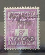 FISCAUX  FRANCE SOCIO-POSTAUX D'ALSACE LORRAINE N°177 7F20 Sur 8F00 Violet SURCHARGE PART PATRONALE Cote 170€ - Fiscales