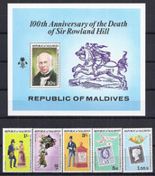 CELEBRIDADES/ROWLAND HILL - MALDIVAS 1979 - Yvert #758/62+H54 - MNH ** - Rowland Hill