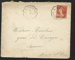 SUR LSC AFFRN. / YVT N°138? OBLI. CACHET AMBULANT Gençais à Poitiers   9/01/1914  - LL18801 - Correo Ferroviario
