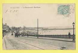 * Le Havre (Dép 76 - Seine Maritime - France) * Le Boulevard Maritime, Timbre, Rare, Plage, Beach, Sea Mer, Animée - Non Classés