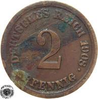 LaZooRo: Germany 2 Pfennig 1908 F VF - [ 2] 1871-1918 : Imperio Alemán