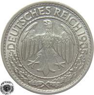 LaZooRo: Germany 50 Pfennig 1935 A XF - 50 Reichspfennig