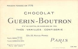 """CPA / CARTE DE VISITE FRANCE 75015 """"Paris, Chocolat GUERIN BOUTRON, Rue Du Maroc"""" - Arrondissement: 15"""