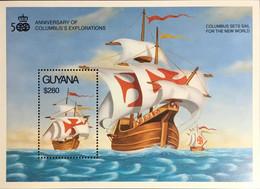 Guyana 1992 Columbus Discovery Of America's Ships Minisheet MNH - Guyana (1966-...)
