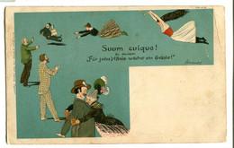 Germany 1900 Humor Glamour Money Bag Costumes Gymnastics Circus Trapeze Military Commissariat - Gymnastik