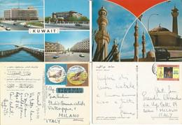 Kuwait #2 Airmail Pcards Traveled To Europe - Kuwait