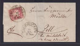 Altdeutschland Bayern Brief EF 3 Kreuzer Wappen Schöner K1 Zweibrücken Nach Zell - Bayern