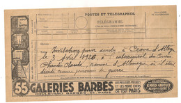 1920  TELEGRAMME PUB GALERIES BARBES / INVITATION ENTERREMENT PRISONNIER DE GUERRE EN ALLEMAGNE MILITARIA C1122 - 1877-1920: Semi-moderne Periode