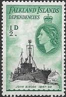 Falkland Islands Dependencies 1954 Ships - 1/2 D. John Biscoe MNH - Falklandeilanden