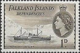 Falkland Islands Dependencies 1954 Ships - 1d. Trepassey MNH - Falklandeilanden