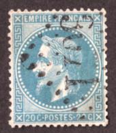 Napoléon III Lauré N° 29B Bleu Terne - Oblitération GC 3071 Quintin (Côtes Du Nord) - 1863-1870 Napoleon III Gelauwerd