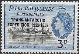 Falkland Islands Dependencies 1956 Trans-Antarctic Expedition - Ships Overprinted - 3d - Black And Blue MNH - Falklandeilanden