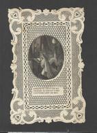 Themes Div-ref FF908- Image Religieuse -dentellle - 10x6,5cms - Janvier 1846- La Priere Et L Ennemi -le Diable - - Imágenes Religiosas