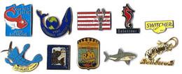 POISSONS - CRUSTACES - PO3  - LOT 10 Pin's Différents - Verso : DIVERS - Badges