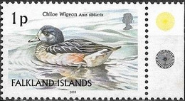 Falkland Islands 2003 Birds - 1p - Chiloe Wigeon MNH - Falklandeilanden