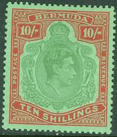 BERMUDA 1951 KGVI 10s Perf 13 SG 119e Mounted Mint - Bermudas