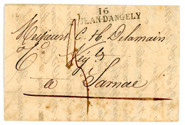CHARENTE INFERIEURE LAC 1836   16 / ST JEAN D'ANGELY 51mm X 10mm - 1801-1848: Precursores XIX