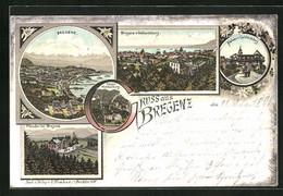 Lithographie Bregenz, Teilansicht, Pfänder, Plateau V. Gebhardsberg - Zonder Classificatie