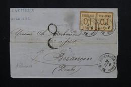 FRANCE - Lettre De Mulhouse Pour Besançon En 1871, Affranchissement Alsace Lorraine 10ct En Paire - L 72034 - Alsace Lorraine