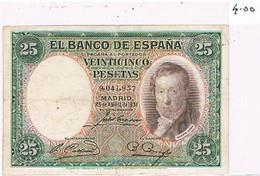 ESPAGNE    BILLET DE 25  PESETAS  N° 9.041.957  MADRID 25 AVRIL DE 1931  TBE   BI40 - [ 1] …-1931 : Prime Banconote (Banco De España)