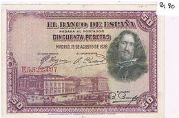 ESPAGNE    BILLET DE 50  PESETAS  N°E5.522 .407  MADRID 15 AOUT DE 1928  TBE   BI41 - 50 Pesetas