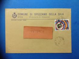 STORIA POSTALE COMUNI D'ITALIA COMUNE DI SPEZZANO DELLA SILA CON MONDIALI 90 SPAGNA ISOLATO - 1991-00: Marcofilia