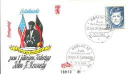 FDC Ersttagsbrief Bund MiNr. 453 Kennedy Stempel Berlin 21.11.1964 Berliner Ausgabe - [7] Repubblica Federale