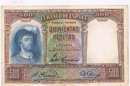 ESPAGNE BILLET DE 500  PESETAS  N°1.015 .486  MADRID 25 AVRIL DE 1931  TBE   BI42 - [ 2] 1931-1936 : Repubblica