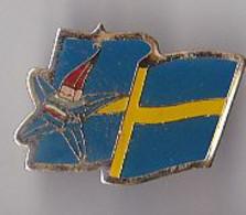 PIN'S  THEME JEUX OLYMPIQUES ALBERTVILLE 1992 LA MASCOTTE DRAPEAU SUEDOIS - Olympic Games