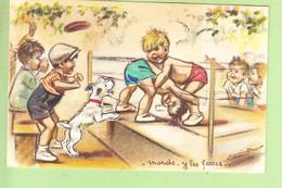 Germaine BOURET - Superbe Carte En Bon état : Combat De Boxe , Les Fesses  - Système , Découpis , Ajoutis , Paillettes - Bouret, Germaine