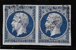 France N°14Ab Bleu-noir - Paire - Oblitéré - TB - 1853-1860 Napoleon III