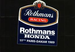 Autocollant   -     ROTHMANS  RACING HONDA  11 ème PARIS-DAKAR 1989 - Adesivi